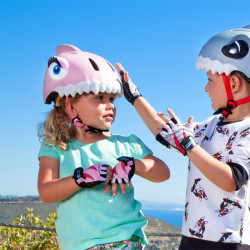Casque vélo enfant Requin rose Crazy Safety
