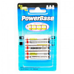 Piles rechargeables PowerBase AAA R03 Ni-MH 1000 mAh - par 4